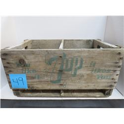 "7 up (Green Writing) Wooden Crate-20""x12""x10 Deep"