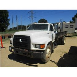 1996 FORD FLATBED DUMP, VIN/SN:1FDNF80C4TVA17626 - GVW 24,500LB, FORD DIESEL ENGINE, 5/2 SPEED TRANS