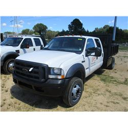 2006 FORD F550 FLATBED TRUCK, VIN/SN:1FDAW56P86EA28995 - CREW CAB, FORD POWERSTROKE DIESEL ENGINE, A