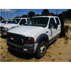 2006 FORD F450 FLATBED, VIN/SN:1FDXW46PX6EA19994 - S/A, CREW CAB, FORD POWER STROKE DIESEL ENGINE, A