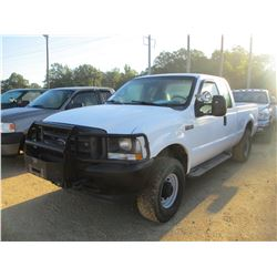 2002 FORD F250 PICK UP, VIN/SN:1FTNX21L82ED91727 - 4X4, EXTENDED CAB, TRAITON V8 GAS ENGINE, A/T, BR