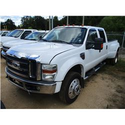 2008 FORD F450 DUALLY PICK UP, VIN/SN:1FTXW43RX8EA64253 - 4X4, CREW CAB, POWER STROKE DIESEL ENGINE,