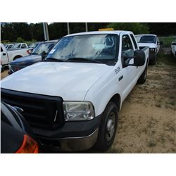 2006 FORD F250 PICKUP, VIN/SN:1FTSX20516EB47872 - EXT CAB, GAS ENGINE, A/T, ODOMETER READING 216,816