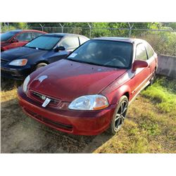 1998 HONDA CIVIC VIN/SN:1HGEJ8242WL129464 - GAS ENGINE, A/T, ODOMETER READING 140,067 MILES
