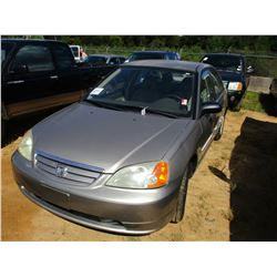 2003 HONDA CIVIC VIN/SN:2HGES16583H537726 - GAS ENGINE, A/T, ODOMETER READING 111,220 MILES