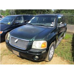 2002 GMC ENVOY VIN/SN:1GKD513S022307517 - GAS ENGINE, A/T, ODOMETER READING 187,722 MILES