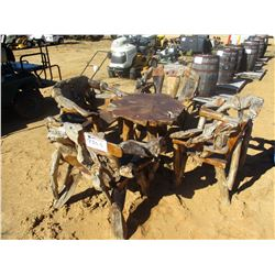 TEAKWOOD TABLE W/FOUR CHAIRS (C6)