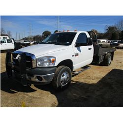2009 DODGE RAM 3500 FLATBED, VIN/SN:3D6WG46T49G530635 - GAS ENGINE, A/T, 11' FLATBED BODY, ODOMETER