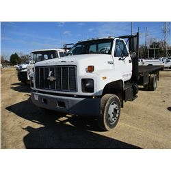 1994 CHEVROLET KODIAK FLATBED TRUCK, VIN/SN:1GBJ6H1J2RJ104526 - 3406 CAT DIESEL ENGINE, 5 SPEED TRAN