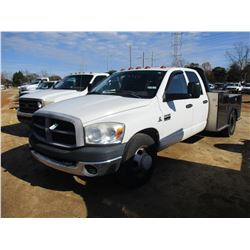 2007 DODGE RAM 3500 FLATBED TRUCK, VIN/SN:3D7ML48C97G728801 - CREW CAB, CUMMINS DIESEL, 7 SPEED TRAN