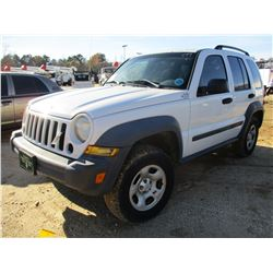 2007 JEEP LIBERTY VIN/SN:1J4GK48KX7W680285 - V8 GAS, A/T, ODOMETER READING 184,404 MILES (COUNTY OWN