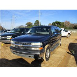 2001 CHEVROLET SUBURBAN VIN/SN:3GNEC16T41G178681 - GAS ENGINE, A/T, ODOMETER READING 260,508 MILES