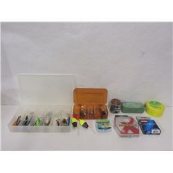 BOX LOT OF FISHING LURES, LINE, AND ACCESSORIES