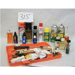 BOX LOT OF GUN CLEANING SUPPLIES