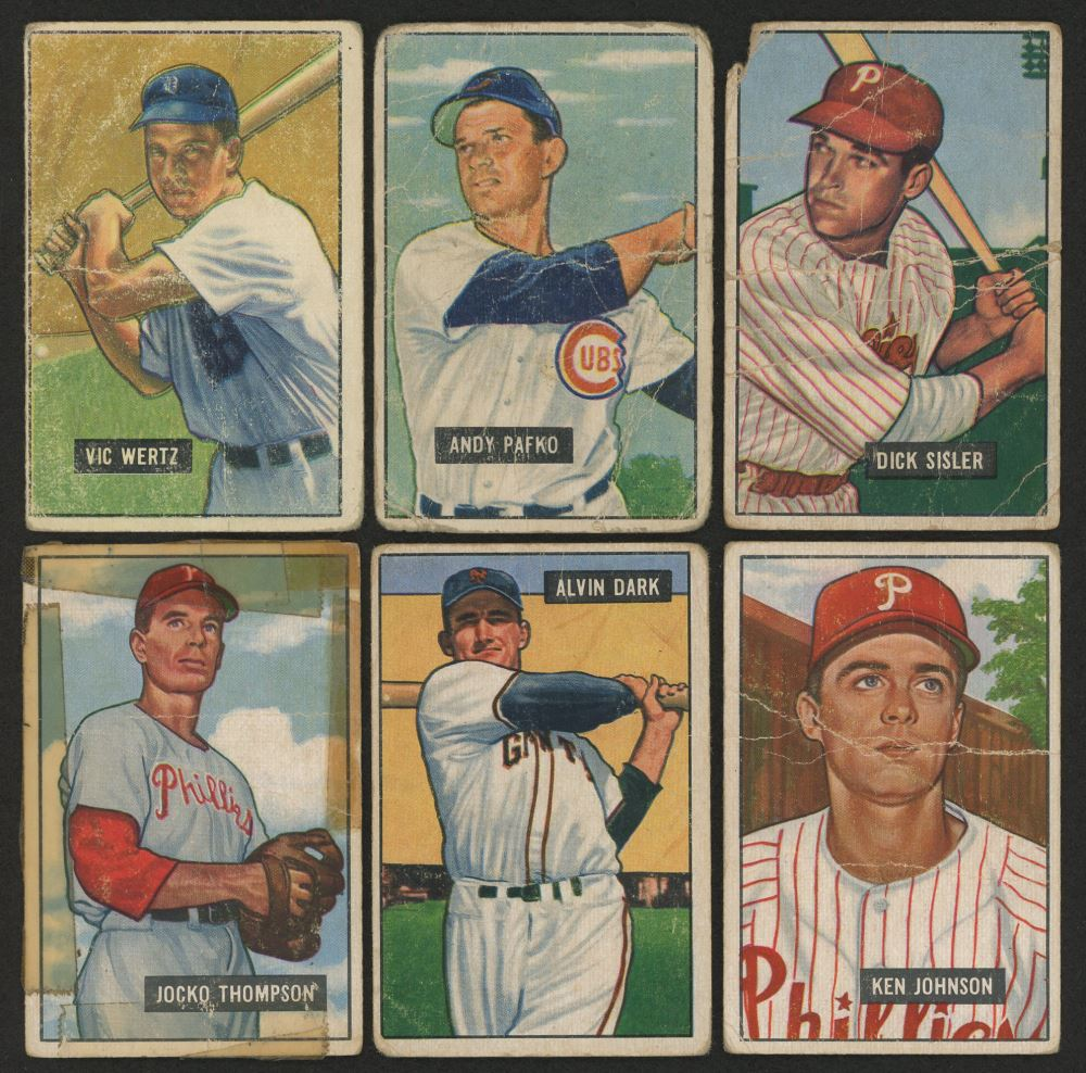 Image 1 Lot Of 6 1951 Bowman Baseball Cards With 294 Jocko