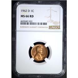 1962-D LINCOLN CENT NGC MS66 RD