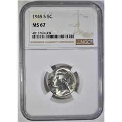 1945-S JEFFERSON NICKEL NGC MS-67