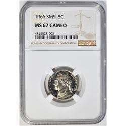 1966 SMS JEFFERSON NICKEL, NGC MS-67 CAMEO