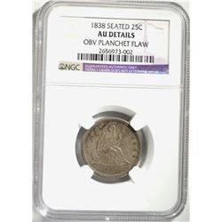 1838 SEATED QUARTER, NGC AU DETAILS