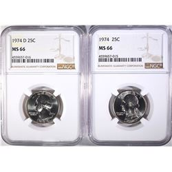 1974 & 74-D WASHINGTON QUARTERS, NGC MS-66
