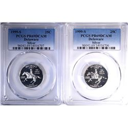 2 - 1999-S SILVER DELAWARE QTRS PCGS