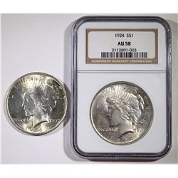 LOT PEACE DOLLARS; 1924 NGC AU58, 1923