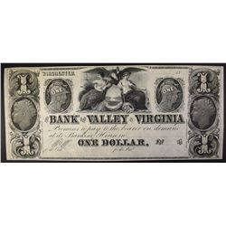 $1.00 NOTE, BANK OF THE VALLEY VIRGINIA, NICE!