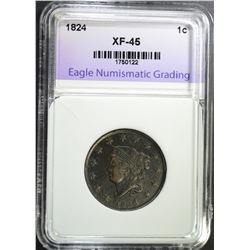 1824 LARGE CENT, ENG XF/AU