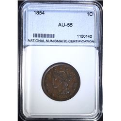 1854 LARGE CENT, NNC AU/BU