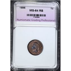 1896 INDIAN CENT, NGP, CH/GEM BU RB