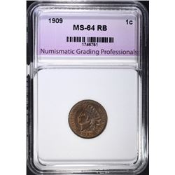 1909 INDIAN CENT, NGP CH/GEM BU RB