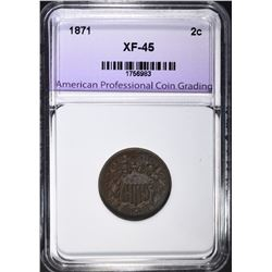 1871 2-CENT PIECE, APCG XF/AU