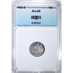 1862-S SEATED LIBERTY DIME, EMGC AU/BU