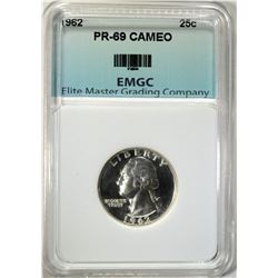 1962 WASHINGTON QUARTER EMGC SUPERB GEM+ PF CAMEO