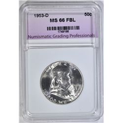 1953-D FRANKLIN HALF, NGP SUPERB GEM BU FBL