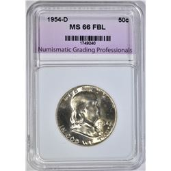 1954-D FRANKLIN HALF, NGP SUPERB GEM BU FBL