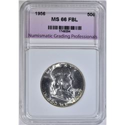 1956 FRANKLIN HALF, NGP SUPERB GEM BU FBL