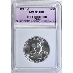 1957-D FRANKLIN HALF, NGP SUPERB GEM BU FBL