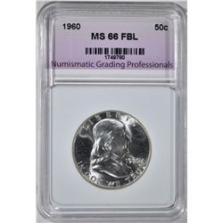 1960 FRANKLIN HALF, NGP SUPERB GEM BU FBL