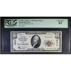 1929 TY.1 $10 NATIONAL BANK NOTE PCGS 63