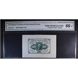 1862 FIRST ISSUE 10 CENT FRACTIONAL CURRENCY