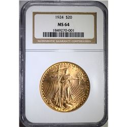 1924 $20 ST GAUDENS GOLD NGC MS 64