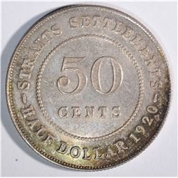 1920 SILVER 50 CENTS STRAITS SETTLEMENTS