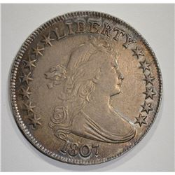 1807 DRAPED BUST HALF DOLLAR  AU+