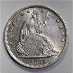 1861-S SEATED HALF DOLLAR  AU+