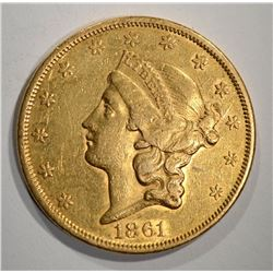 1861 $20.00 TYPE 1 GOLD LIBERTY  AU++