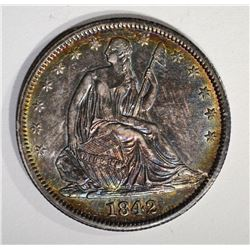 1842 SEATED LIBERTY HALF AU/BU GREAT COLOR