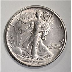 1918 WALKING LIBERTY HALF AU/BU