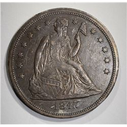 1847 SEATED LIBERTY DOLLAR CH AU