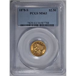 1878-S $2.50 GOLD LIBERTY, PCGS MS-63